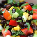 Mexican Black Bean Salad with Red Pepper Green Onions Corn & Cilantro