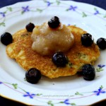 Blueberry Pancakes with Fast Applesauce Topping