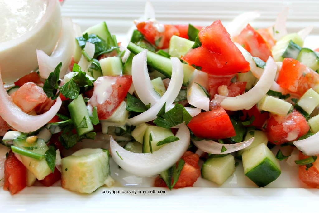 Tomato Cucumber Tahini Salad After 2