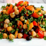 Chickpea & Black Bean Salad with Parsley Mint Green Onion Tomato & Red Bell Pepper