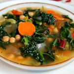 Rustic Parsley Kale & Chard Soup with Garbanzo Beans