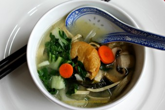 Miso Soup with Noodles Fried Tofu Seaweed Bok Choy Mushrooms Carrot & Onion