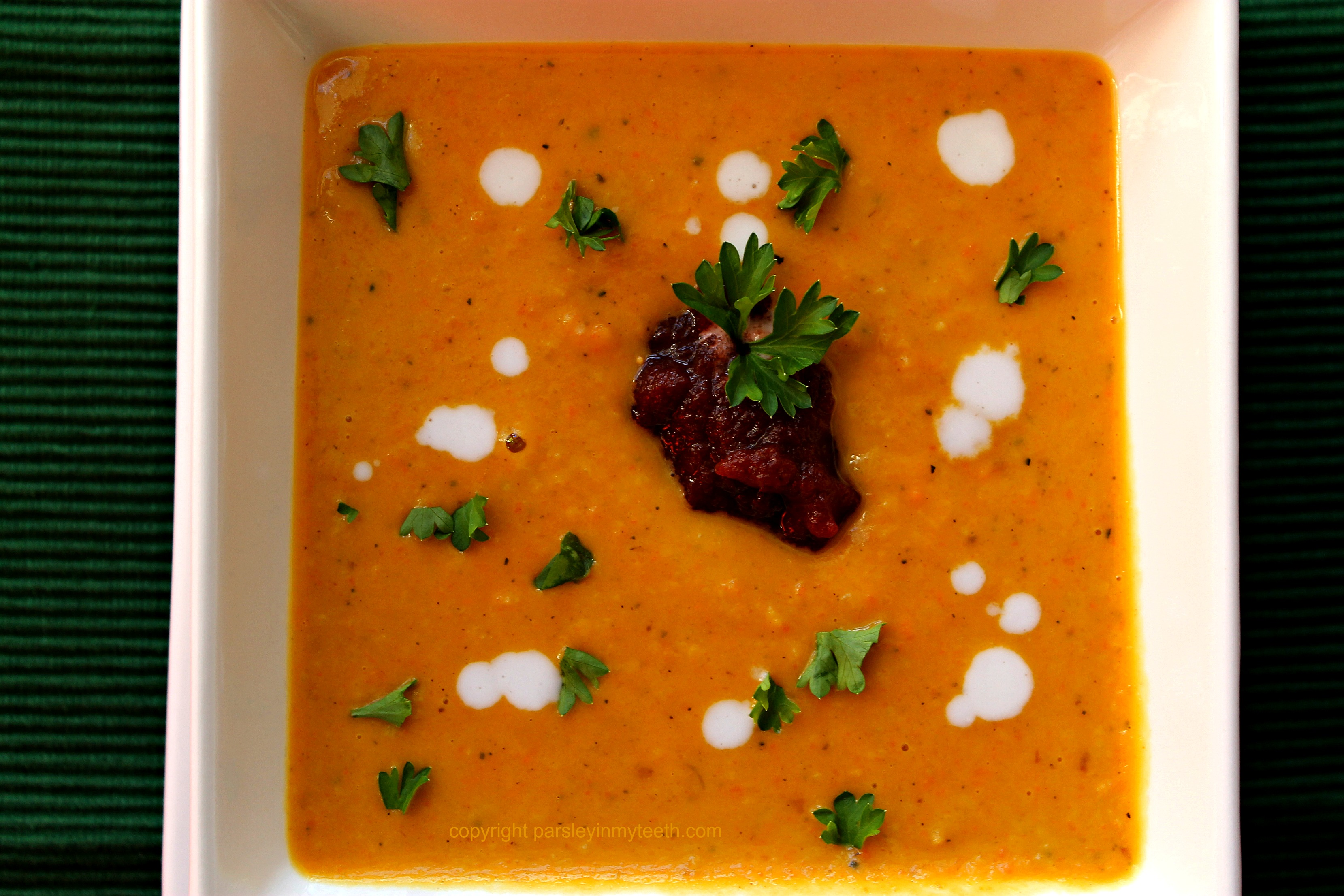 ... Roasted Acorn & Butternut Squash Sweet Potato & Carrot Soup topped