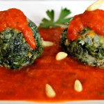 Spinach Parmesan Balls with Tomato Sauce