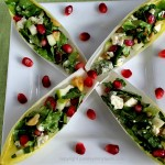 Stuffed Belgian Endive Spears with Blue Cheese Apple Walnuts & Pomegranate
