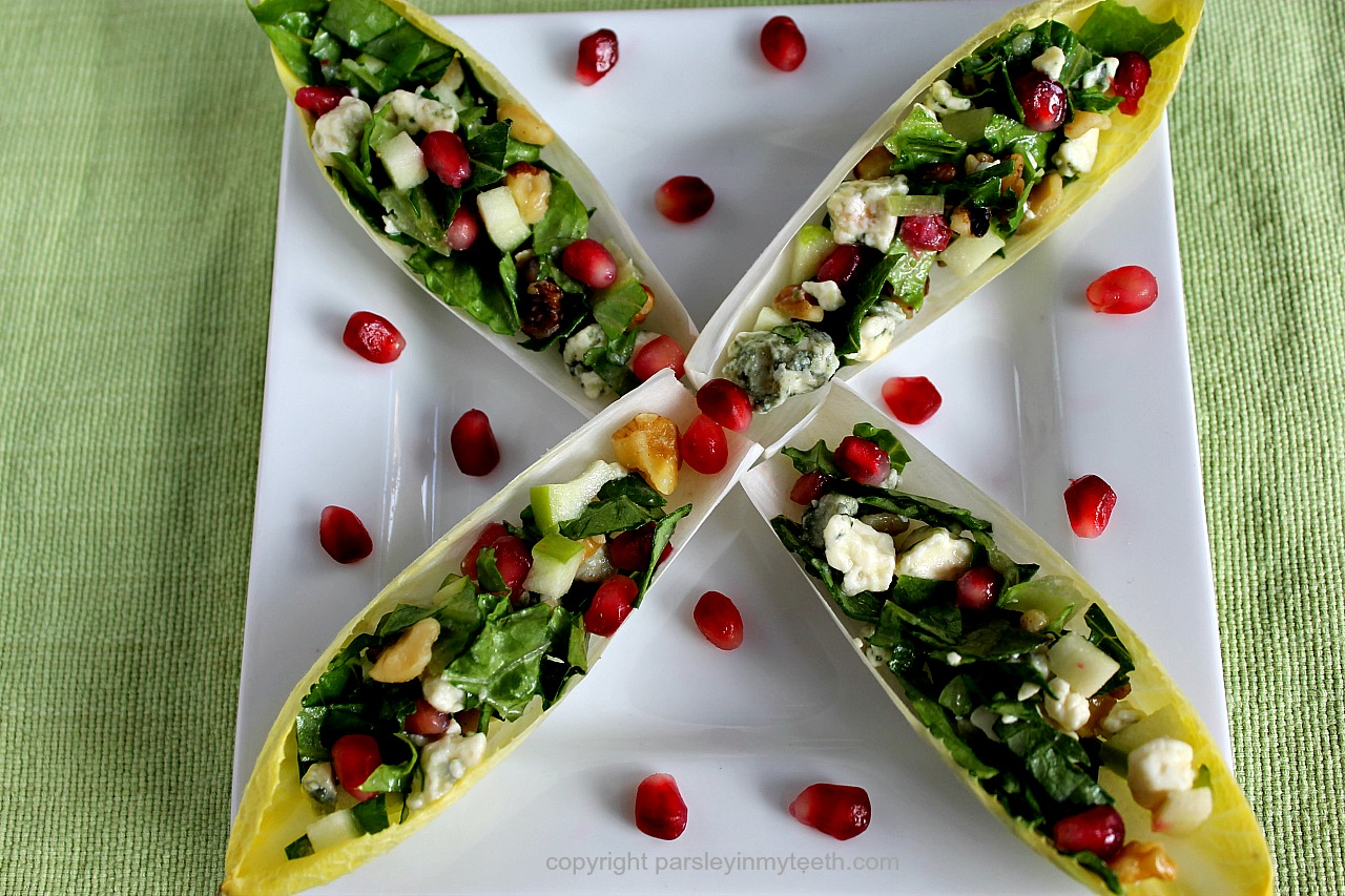 ... Belgian Endive Spears with Blue Cheese Apple Walnuts & Pomegranate