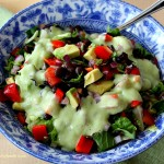Chopped Mexican Salad with Avocado Cilantro Dressing