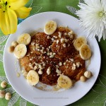 Hawaiian Banana Pancakes with Macadamia Nuts & Maple Syrup