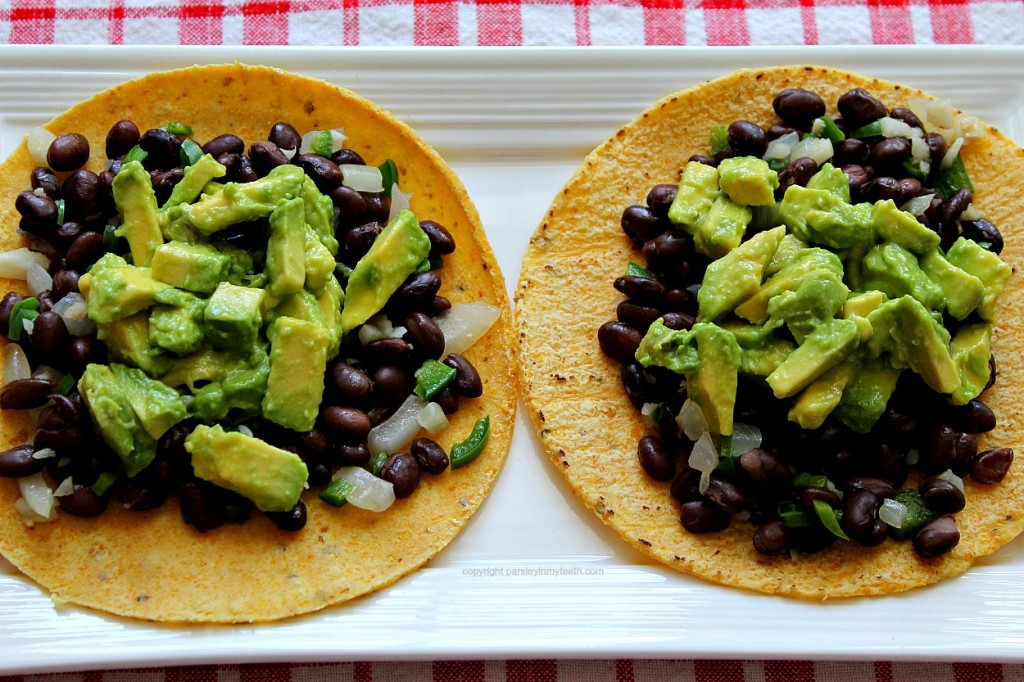 Spicy Black Beans Tacos tortilla beans avocado