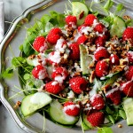 Watercress Raspberry Salad with Cucumber Pecans and Creamy Lemon Dressing