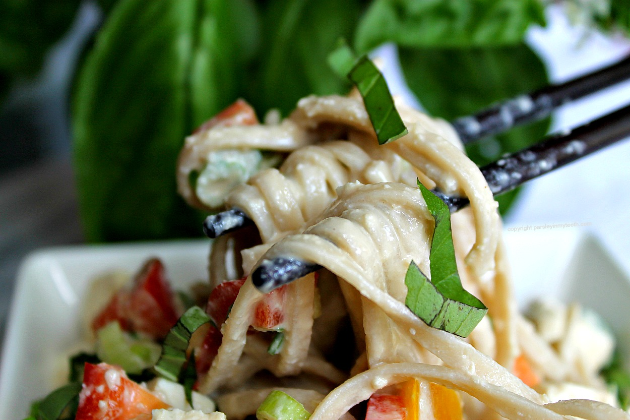 The creamy dressing clinging to the noodles makes this so satisfying ...