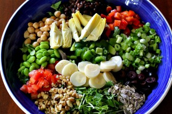 Vegan Chopped Salad with Garbanzo Beans, Pea Sprouts & Edamame