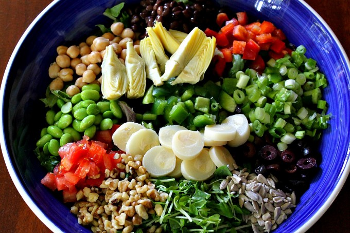 Vegan Chopped Salad With Garbanzo Beans Pea Sprouts Amp Edamame