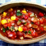 Chunky Gazpacho with End-of-Summer Heirloom Tomatoes