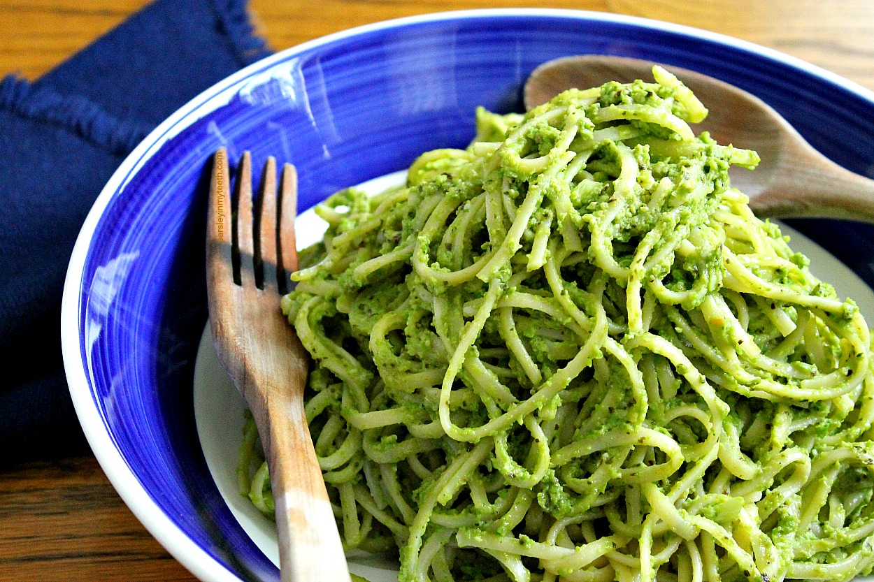 Linguine with Basil Avocado & Green Pea Pesto