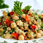 Lightly Spiced Chickpeas Lentils & Quinoa with Parsley & Red Peppers