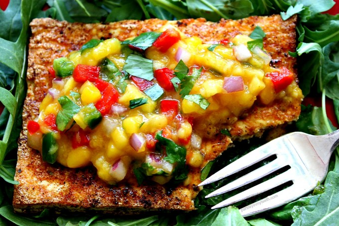 Spicy Fried Tofu and Mango Salsa 6