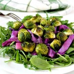 Roasted Brussels Sprouts Cabbage & Onions with Arugula