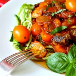Zucchini Spaghetti with Golden Tomatoes Mushrooms & Onions