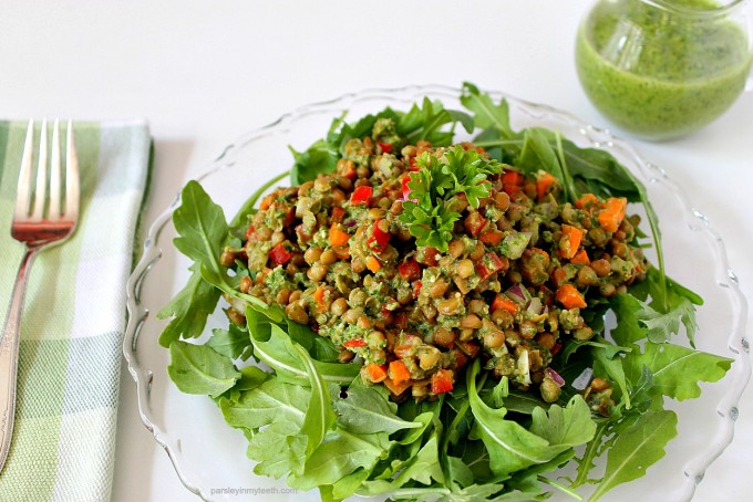 Lentil Arugula Salad with Parsley Pesto Dressing by Parsley In My Teeth 1