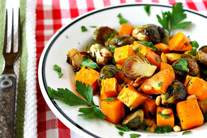 Roasted Sweet Potatoes and Brussels Sprouts by Parsley In My Teeth 2