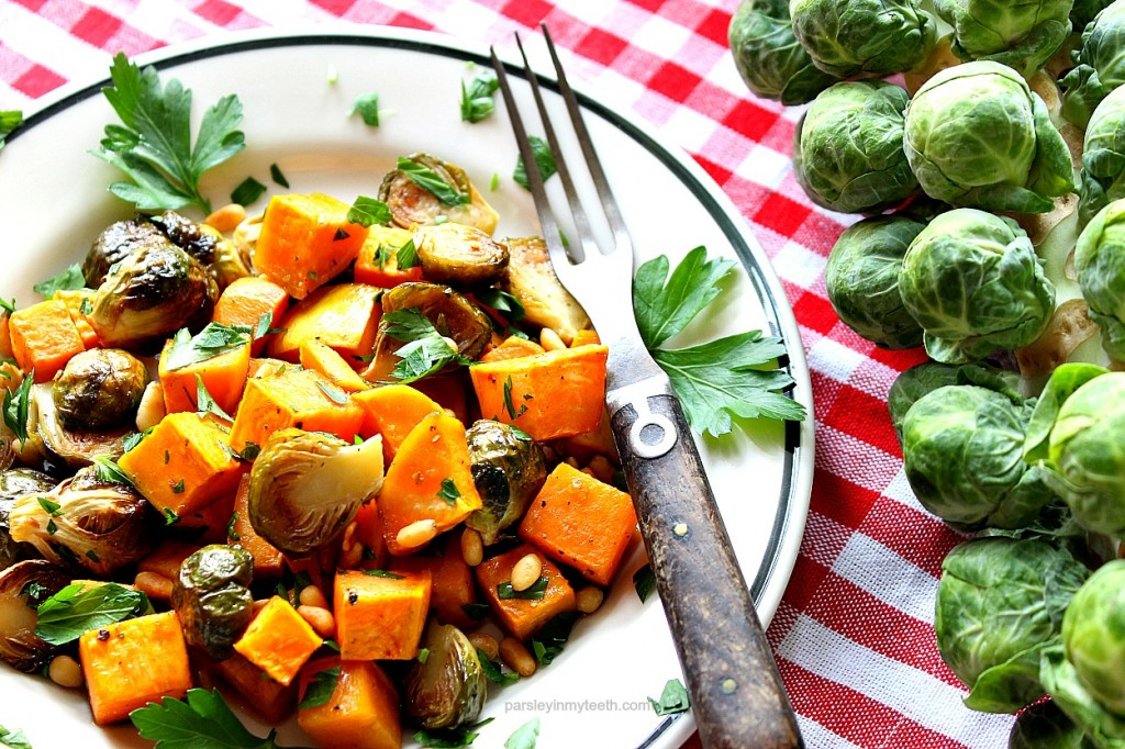 Roasted Sweet Potatoes & Brussels Sprouts with Toasted Pine Nuts and ...
