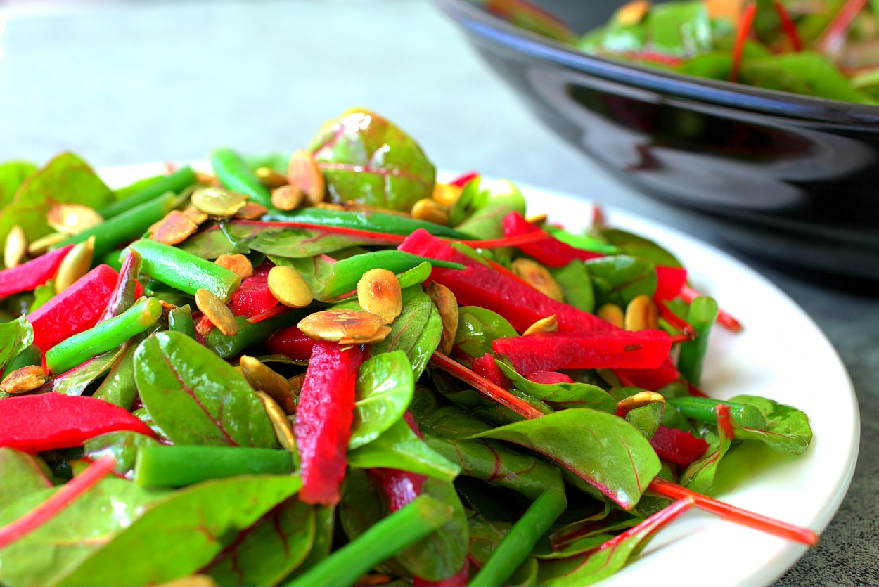 Baby Red Chard Beet & Green Bean Salad with Toasted Pepitas by Parsley In My Teeth 4