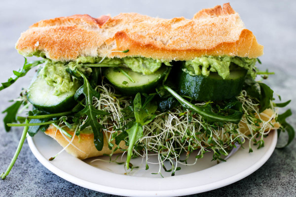 Mashed Avocado Cucumber Arugula & Sprouts Sandwich