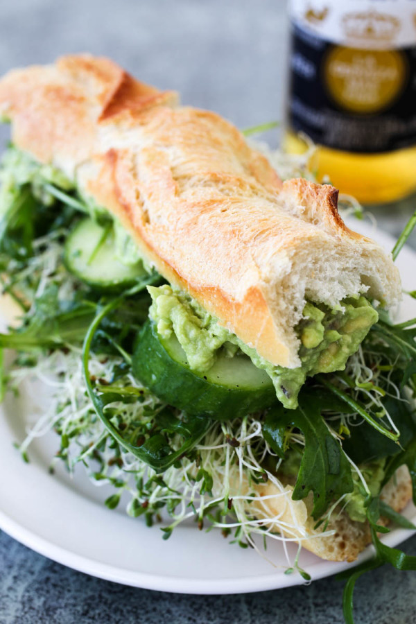 Mashed Avocado Cucumber Arugula & Sprouts Sandwich by Parsley In My Teeth 2