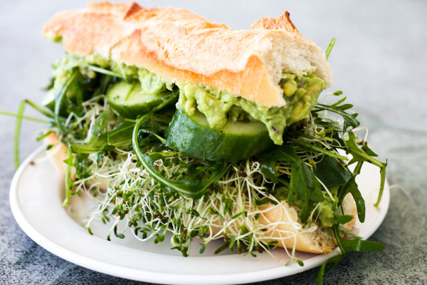 Mashed Avocado Cucumber Arugula & Sprouts Sandwich by Parsley In My Teeth 3