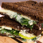 Grilled Blue Cheese Green Apple & Arugula on Pumpernickel