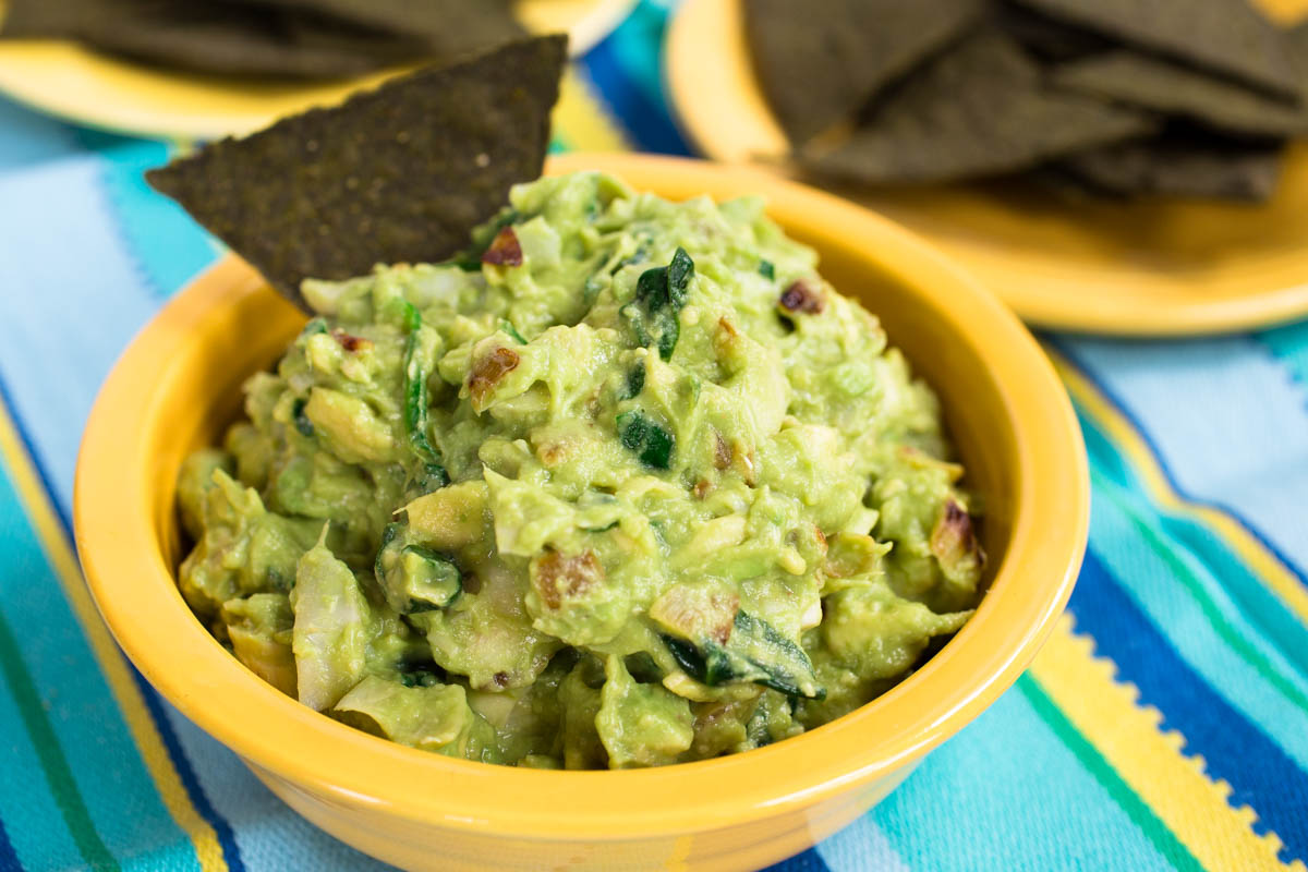 Avocado Artichoke Dip with Spinach & Caramelized Onions