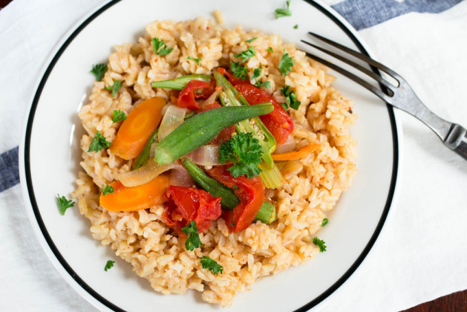 Cajun Okra & Tomatoes Over Brown Rice