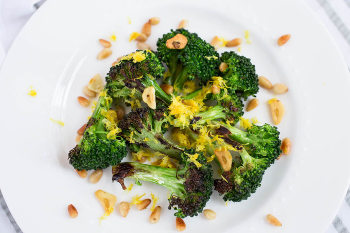 Charred Broccoli with Fried Garlic Toasted Pine Nuts & Lemon Zest