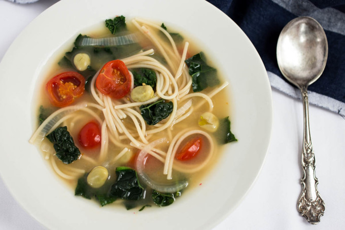 Kale Fava Bean & Spaghetti Soup by Parsley In My Teeth 1