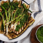 Grilled Eggplant & Scallions with Parsley Pesto