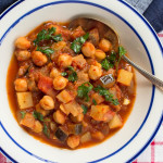 Harissa Chickpea Potato & Eggplant Stew