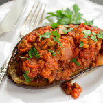 Stuffed Eggplant with Lentils & Harissa