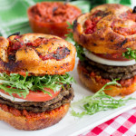 Lentil & Portobello Mushroom Burgers with Sun-Dried Tomato Harissa Sauce