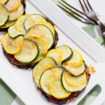Mini Eggplant Pizzas with Zucchini Summer Squash & Sun-Dried Tomato Pesto