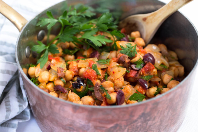 Garbanzo Bean) Salad Recipe With Tomatoes, Olives, Basil, And Parsley ...
