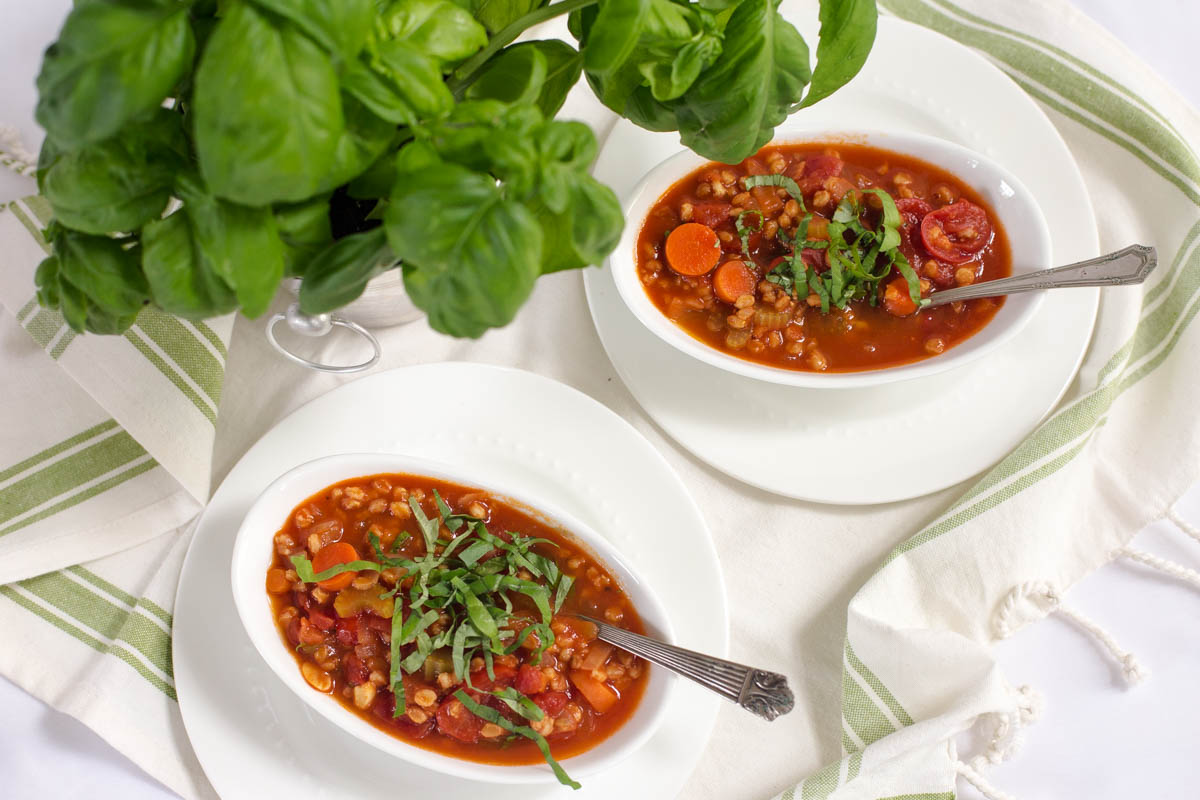 Wheat Berry, Summer Tomato & Basil Vegetable Soup