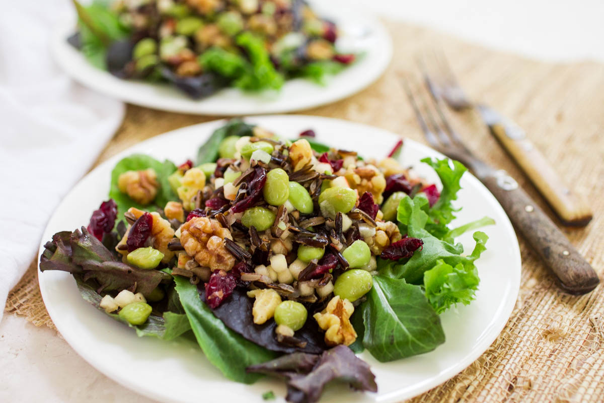 Wild Rice Edamame Walnut & Apple Salad with Dried Cranberries