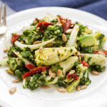 Chopped Kale Salad with Avocado Artichoke Hearts Quinoa & Sun-dried Tomatoes