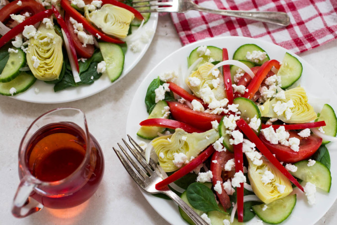 End of Summer Tomato Cucumber & Red Pepper Mediterranean Salad from Parsley In My Teeth