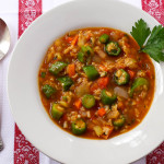 Sweet Onion Okra & Brown Rice Vegetable Soup