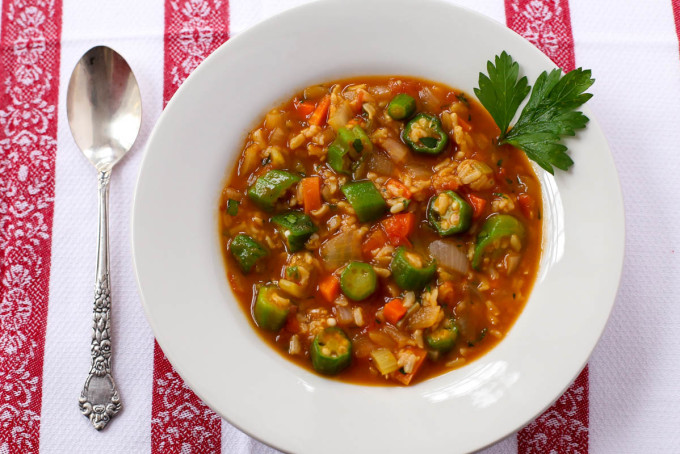 Sweet Onion Okra & Brown Rice Vegetable Soup by Parsley In My Teeth