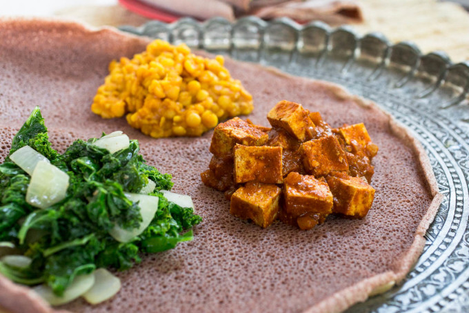 Ethiopean Tofu W'et, Lemon Mustard Lentils + Gingered Kale with Teff Injera by Parsley In My Teeth