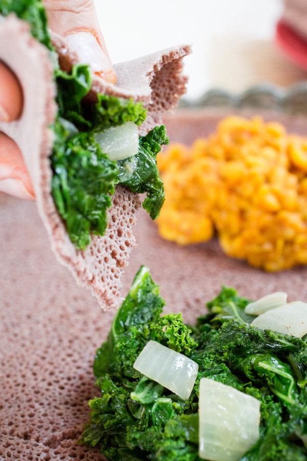 Ethiopean Tofu W'et, Lemon Mustard Lentils and Gingered Kale with Teff Injera by Parsley In My Teeth