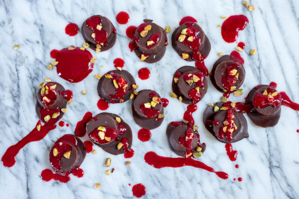 Chocolate-Covered Banana Bites with Pistachios and Raspberry Puree - Parsley In My Teeth